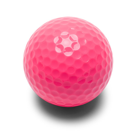 Pink Miniature Golf Ball Isolated on a White Background. Imagens