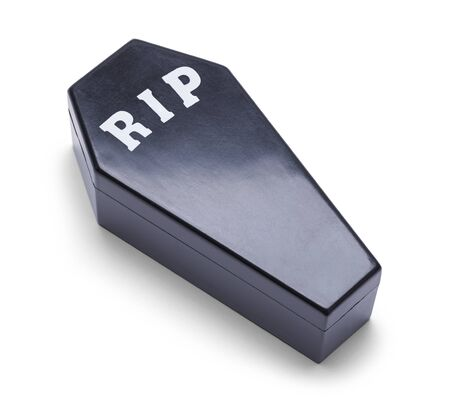 Black Plastic Coffin Isolated on a White Background.