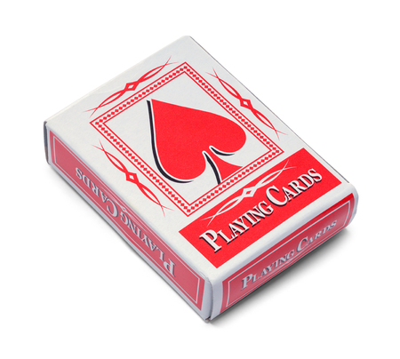 Deck of Playing Cards in Box Isolated on White. Banque d'images