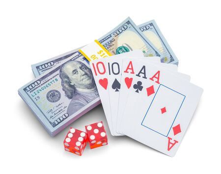 Stack of Money with Playing Cards and Dice Isolated on White Background.