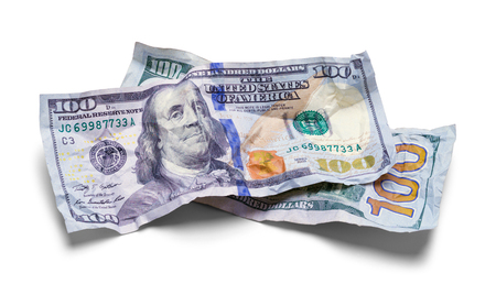Two Hundred Dollar Bills Wrinkled an Crushed Isolated on White. Stockfoto
