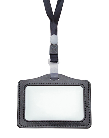 Black Leather Name Tag With Copy Space Isolated on a White Background.