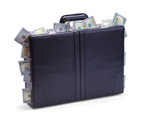 Black Briefcase with Cash Sticking Out Isolated on a White Background.