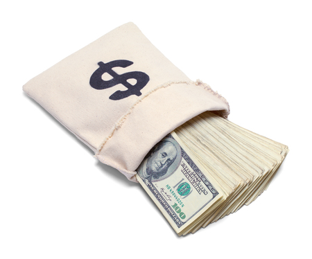 Bank Bag With Cash Spilling Out Isolated on White.