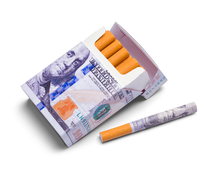 Open Pack of Money Cigarettes Isolated on a White Background.