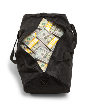 Black Duffel Bag Full of Money Isolated on a White Background. Stock Photo
