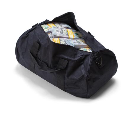 Full Black Duffel Bag of Hundred Dollar Bills Isolated on a White Background. Stock Photo