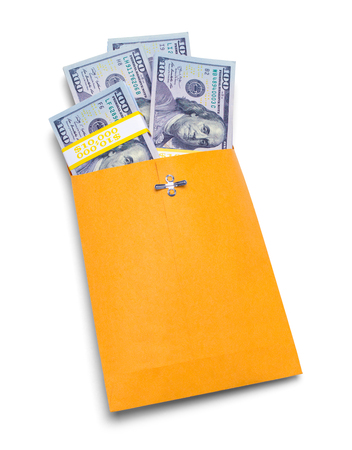 Yellow Envelope Full of Cash Isolated on a White Background.