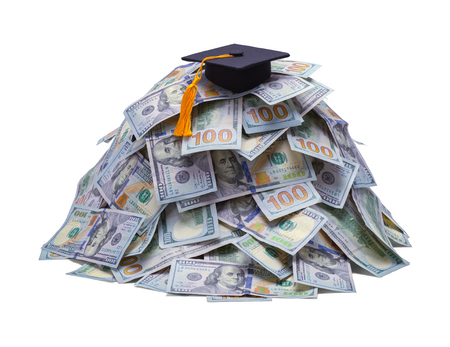 Pile of Money with Gradutation Hat Isolated on White Background.