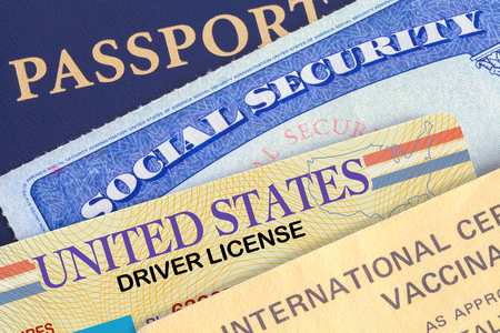 USA Passport with Social Security Card, Drivers License and Shot Record.