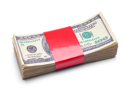 Stack of Money with Red Tape Isolated on White Background.