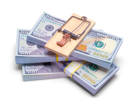 Stack of Money with Mouse Trap on Top Isolated on White. Stock Photo