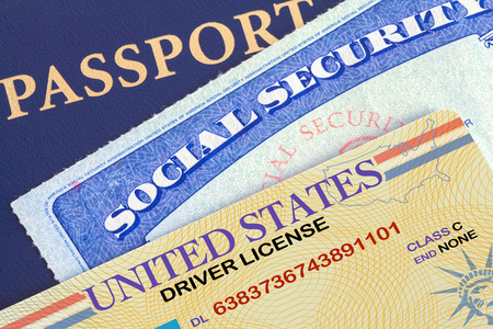 USA Passport with Social Security Card and Drivers License. Stockfoto