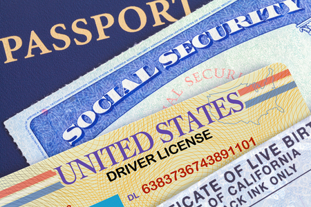 USA Passport with Social Security Card, Drivers License and Birth Certificate. Stock fotó