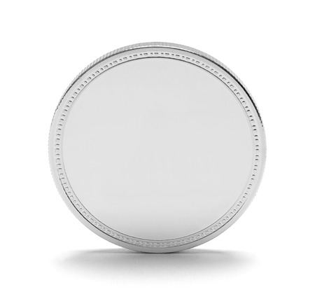 Silver Coin With Copy Space Isolated on White Background. 写真素材