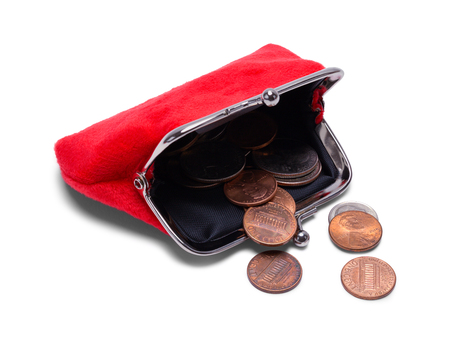 Open Coin Purse With Change Spilling Out Isolated on White.