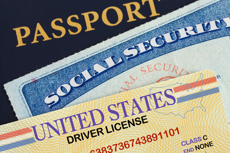 USA Passport with Drivers License and Social Security Card. Stockfoto