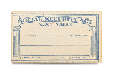 Social Security Act Card with Copy Space Isolated on White Background.