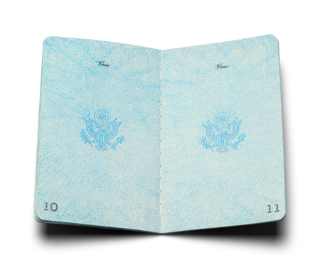 Open Vintage American Passport Isolated on a White Background.