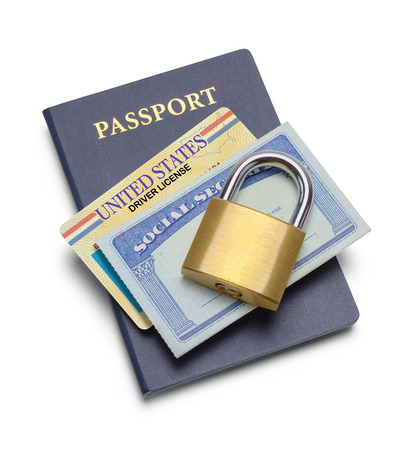 Passport with License and Social Security Plus Lock Isolated on White.