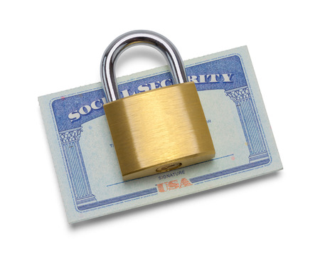 Social Security Card with Pad Lock Isolated on White.