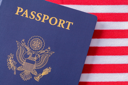 American Passport Close Up on Top of USA Flag. Stock fotó