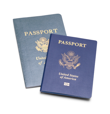 New and Old USA Passports Isolated on White Background. Stock fotó