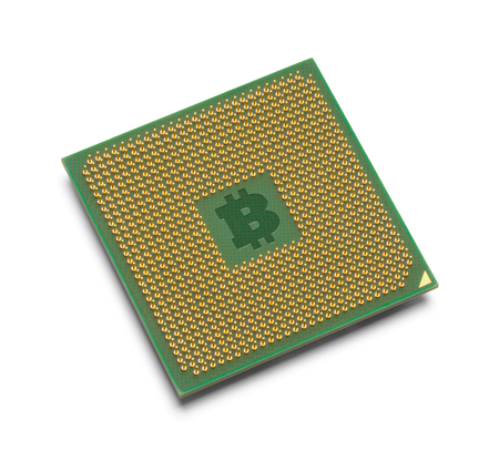 Bitcoin Micro Processor Isolated on White Background. Stock fotó