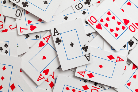 Large Pile of Playing Cards With Aces on Top. Stok Fotoğraf