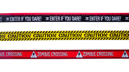 Three Caution Tapes Isolated on a White Background.