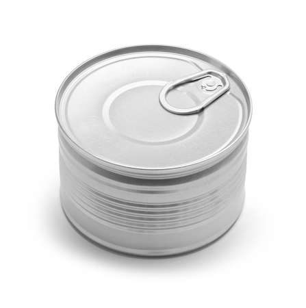 Small Closed Pull Tab Tin Can Isolated on a White Background.