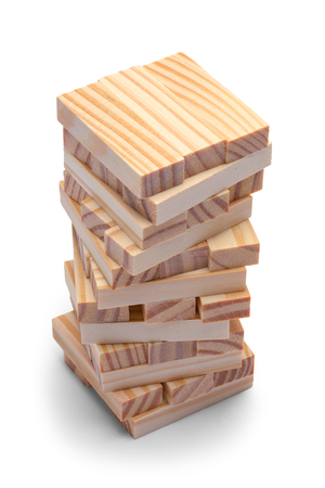 Small Stack of Wood Blocks Isolated on White Background.