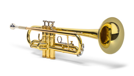 Brass Trumpet Isolated on a White Background.