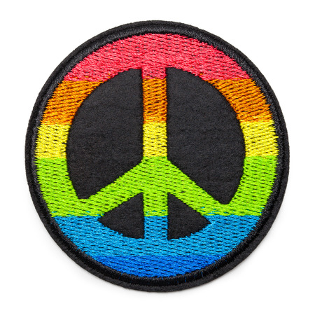 Round Rainbow Peace Patch Isolated on White.