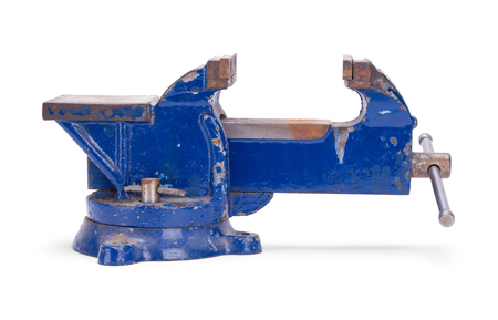 Open Worn Blue Anvil Vise Clamp Isolated on a White Background.