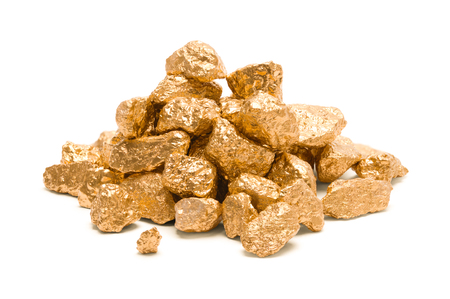 Pile of Gold Nuggets Isolated on White Background. Stock Photo