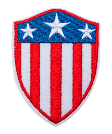 United States Shield Flag Patch Isolated on White. Stock Photo