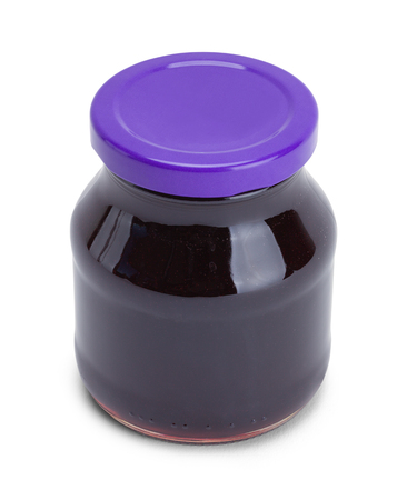 Small Grape Jelly Jar Isolated on White.