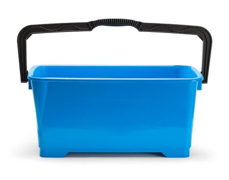 Large Blue Window Cleaning Bucket Isolated on White. Stock Photo