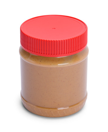 Peanut Butter Container with Red Lid Isolated on White.
