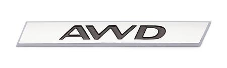 All Wheel Drive Chrome Badge Emblem Isolated on White Background.
