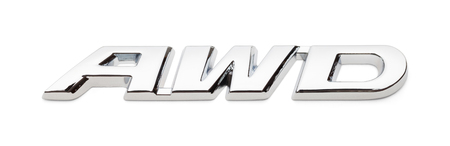 All Wheel Drive Chrome Badge Isolated on White Background. Stock Photo