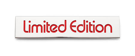 Chrome Limited Edition Car Decal Badge Isolated on White.