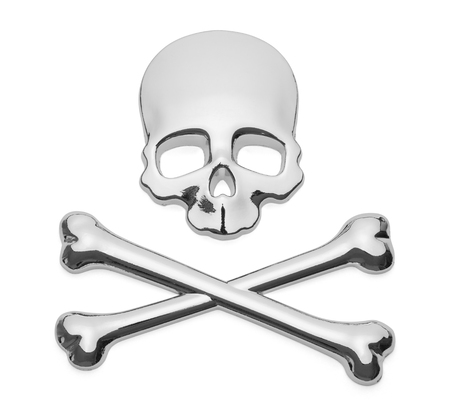 Skull and Cross Bones Pirate Car Decal Badge on Isolated.