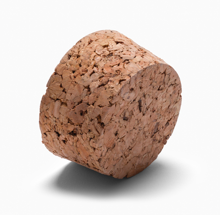 Large Wide Cork on Side Isolated on White.