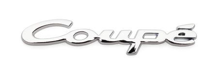 Chrome Coupe Car Badge Isolated on White Background.