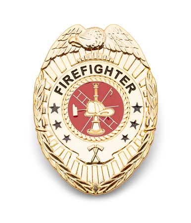 Gold Fire Department Badge Isolated on White. Фото со стока