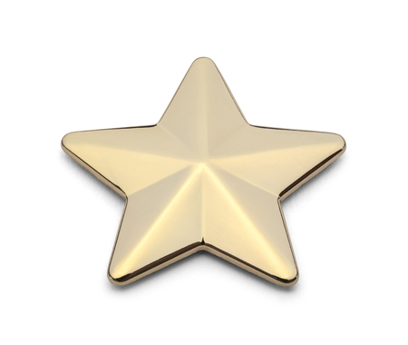 Metal Gold Star Isolated on White Background.