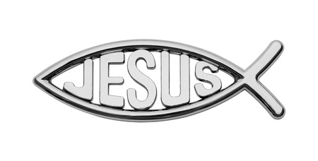 Chrome Jesus Fish Car Badge Isolated on White. Imagens