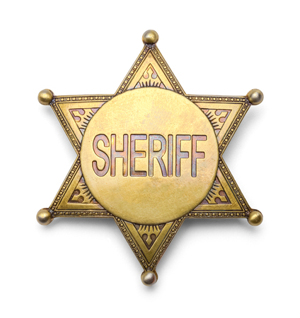 Brass Sheriff Badge Isolated on White Background.